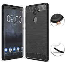 Nokia 8 Sirocco Case, TopACE Ultra Thin Carbon Fiber Scratch Resistant Shock Absorption Soft TPU Protective Cover for Nokia 9 / Nokia 8 Sirocco (Black)