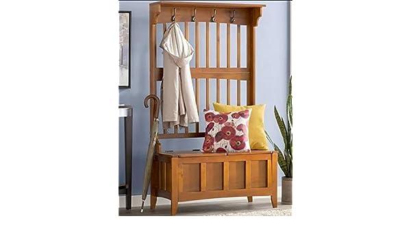 Amazon.com: Eltta- Walnut Wood with Four Hooks Storage Bench ...