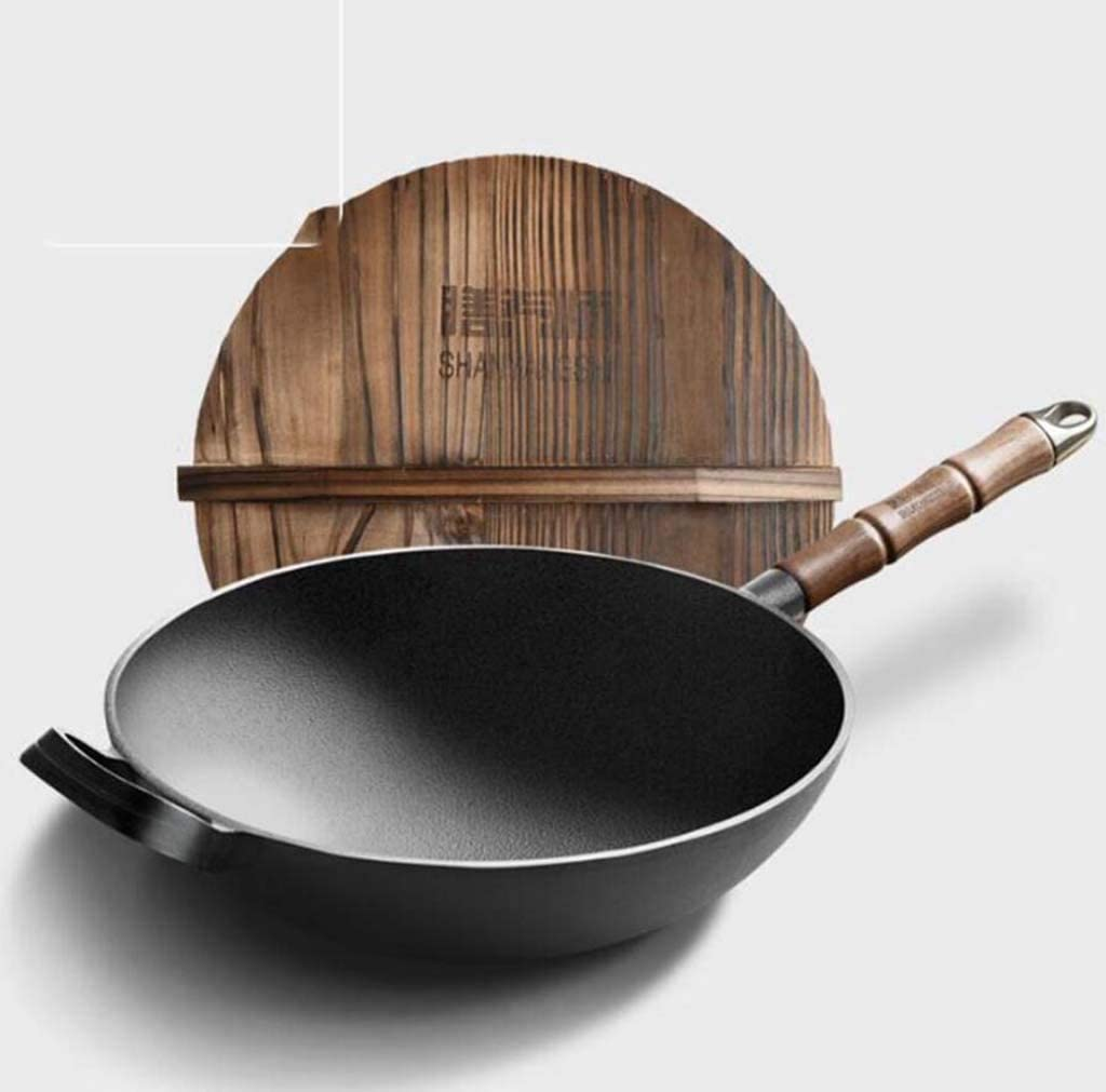 DDHZTA Olla de Hierro Fundido a la Antigua Estufa de Gas de Olla de Cocina de Fondo Plano de la Vieja Moda para la Cacerola Antiadherente,BA