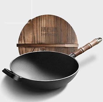 DDHZTA Olla de Hierro Fundido a la Antigua Estufa de Gas de Olla de Cocina de Fondo Plano de la Vieja Moda para la Cacerola Antiadherente,BA: Amazon.es: ...