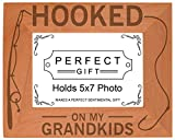 ThisWear Gift Grandpa Hooked On My Grandkids Natural Wood Engraved 5×7 Landscape Picture Frame Wood Review