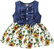 Tianhaik 1-4T Toddler Baby Girl Long Sleeve Ruffled Button Denim Leopard Dress Long Sleeve Princess Dress