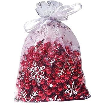 Wuligirl 100pcs 5X7 Inches Christmas Drawstring Organza Gift Bag Snow White Pouches Party Wedding Favor Seashell Chocolates Gift Bags (100pcs Snowflake 5x7)