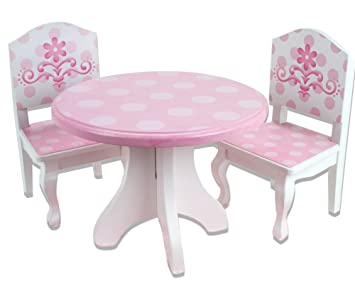 Captivating Amazon.com: 18 Inch Doll Table U0026 Chairs Set, Fits American Girl Doll Bed  Rooms And More, Pink And White Hand Painted Doll Table And Two Doll Chairs  Set: ...