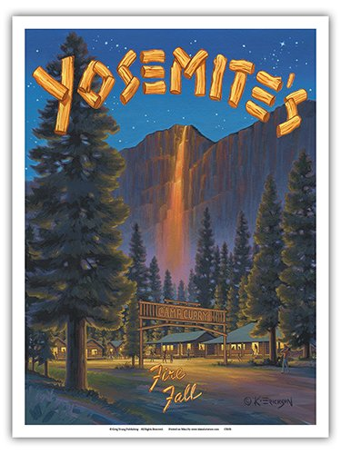 Pacifica Island Art Yosemite's Fire Fall - Camp Curry - Glacier Point, Yosemite National Park - Vintage Style World Travel Poster by Kerne Erickson - Master Art Print - 9in x 12in ()