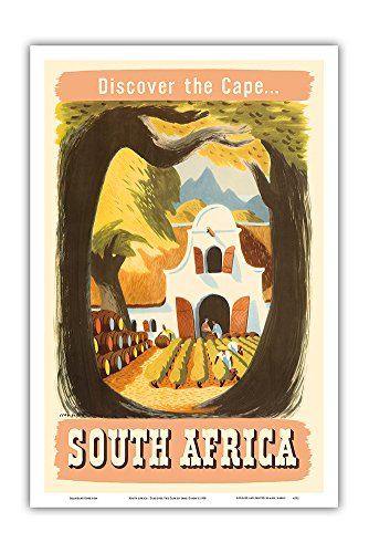 Pacifica Island Art South Africa - Discover the Cape - South African Vineyard - Vintage World Travel Poster by Leng Dixon c.1950 - Master Art Print - 12in x 18in
