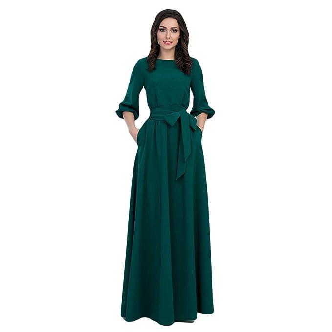 Xinwcang Vintage Fiesta Noche Largo Vestido para Mujer Elegant Maxi Vestido Manga Larga de Damas para