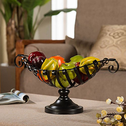Comport Kitchen Fruit Basket Living Room Dim Sum Tray Wrought Iron Black (502618cm) by JANSUDY (Image #1)