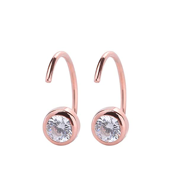 Trendzjewels Halo Round Brilliant Cut Gemstones .925 Sterling Silver For Womens /& Girls Wedding Engagement Stud Earrings 14K Rose Gold Finish 4MM