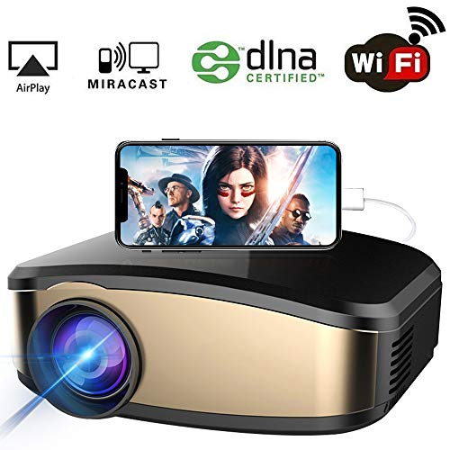 WiFi Projector, iBosi Cheng Portable Mini LCD Video Projector Full HD 1080P LED Home Theater Projector with HDMI/ USB/ VGA/ AV Input for Smartphones PC Laptop Gaming -