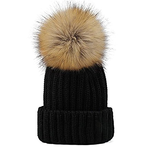 Yetagoo Kids/Adult Knitted Cozy Warm Winter Snowboarding Ski Hat with Faux Fur Pom Pom Slouchy Beanie Bobble Hat