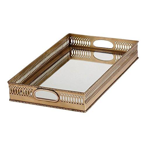 Ethan Allen Rectangular Mirrored Tray, Brass (Beaded Vanity Set)