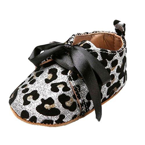BZLine® Baby Mädchen Jungen Pailletten Schuhe Leopard Bow Tie Sneaker Schuhe Weiß
