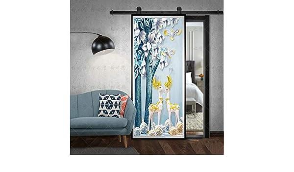 Ruifulex Pegatinas para Puertas DIY Birds Deer Door Decoración ...