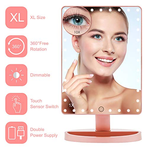 Lighted Makeup Mirror (X-Large Model), COSMIRROR Large Makeup Vanity Mirror with 35 LED Lights and 10X Magnifying Mirror, Touch Sensor, Dual Power Supply, 360° Rotation Light Up Mirror (Rose Gold)]()