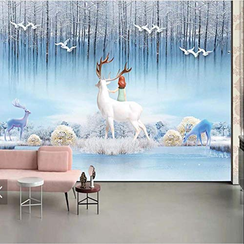 ELK Animal Mural for Living Room Photo Wallpaper Murals Winter Snow Tree Wall Paper (H)200(W)140cm A ()