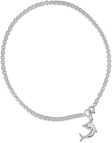 Solid .925 Sterling Silver 9inch Hollow Polished 3-Dimensional Dolphin Anklet 9 inches
