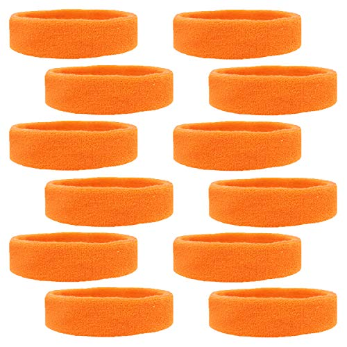 Kenz Laurenz 12 Sweatbands Cotton Sports Headbands Terry Cloth Moisture Wicking Athletic Basketball Headband (12 Pack) (Oarange 12 Pack)