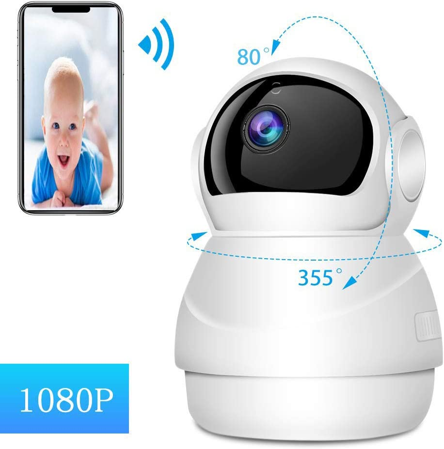 Home Security IP Camera System 1080p HD Wireless Security Surveillance Camera with Auto-Cruise, Motion Tracker, Activity Alert, Night Vision, iOS, Android App – Cloud Service Available White.