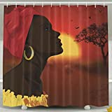 YDYZH Unisex Mama Africa Shower Curtain, Comfortable And Natural Bathroom Curtain,Waterproof/Anti-bacterial/Machine Washable,With Plastic Hooks