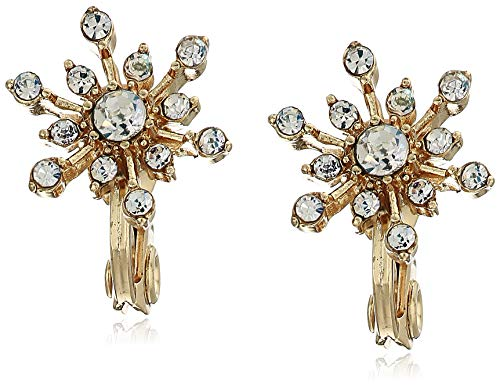 Napier Gold-Tone Crystal Snowflake Clip on Earrings, Gold