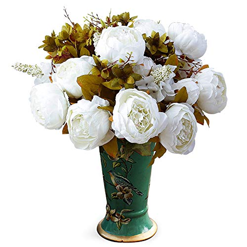 YUYAO Vintage Peony Artificial Flowers Bouquet 13 Heads Silk Fake Peonies Flower Arrangement for Home Wedding Table Centerpieces Decor,2 Pack (White)