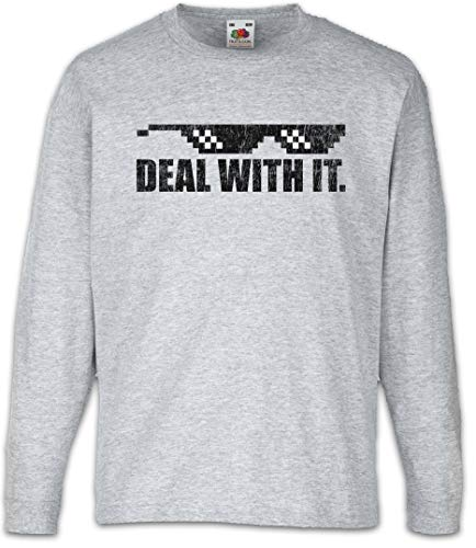 Urban Backwoods Deal with It Kids Boys Girls Long Sleeve T-Shirt Gray (Sonnenbrille Hipster)