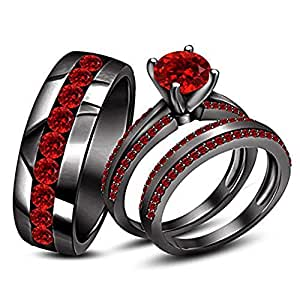 Round Red Ruby Stone His & Her Trio Ring Set In Black Gold Plated Ladies Bridal & Men Wedding Band Ring