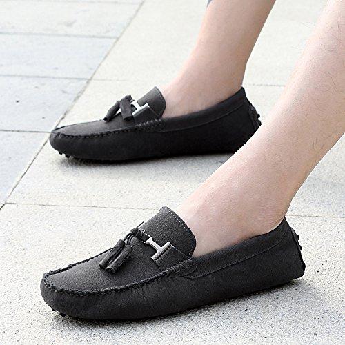 Abby Mens Qz-2080 Mode Confort Confortable Cosiness Message Chirismus Conduite Chaussures En Cuir Plat Gris