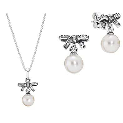 919920e1007b1 Original Pandora Perls Bows 390380 P 290596 P Necklace and Earring ...