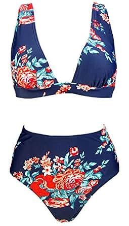 COCOSHIP Red Pink & Navy Blue Antigua Flower Retro High Waist Bikini Set Deep V-Neckline Top Concise Bathing Suit Swimwear 4(FBA)