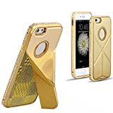 For iPhone 6/6S Case,PU leather cellphone case for iPhone6/6S ,Glitter Crystal Bumper Case,Foldable Hard Leather(Gold)