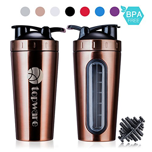 28oz Stainless Steel Classic Protein Mixer Shaker Bottle Dishwasher Safe BPA Free Leak Proof Mixing Shaker Cup Large Portable Loop Flip top For Sports Fitness Nutrition (ROSE - Shaker Steel Plastic