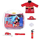 Luerme Kindergarten Costume Set Firefighter Fireman Outfit Costume Role Play Cosplay Dress Up Set Children's Role Playing Doctor Toy Professional Simulation Play House Kitchen Toy for Girls Boys