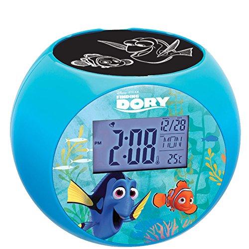LEXIBOOK Disney Finding Dory Marlin Radio projector clock, sound effects, battery-powered, Blue/Black, RL975DO