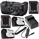 Sony Vertical Battery Grip for Alpha A99 DSLR Camera + NP-FM500H Battery + External Charger + 64GB SDXC Card Saver Bundle