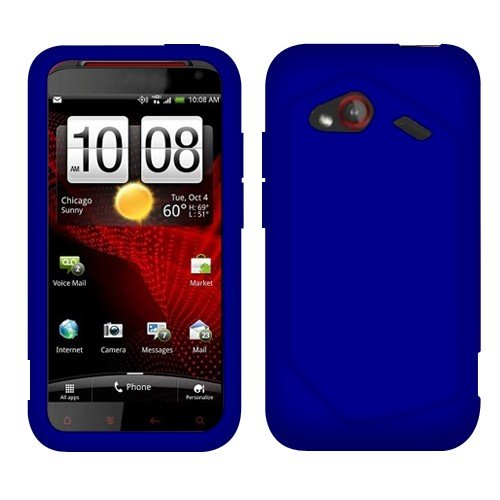 Solid Blue Skin Silicone (Solid Dark Blue Silicone Skin Gel Cover Case For HTC DROID Incredible 4G LTE ADR6410L)