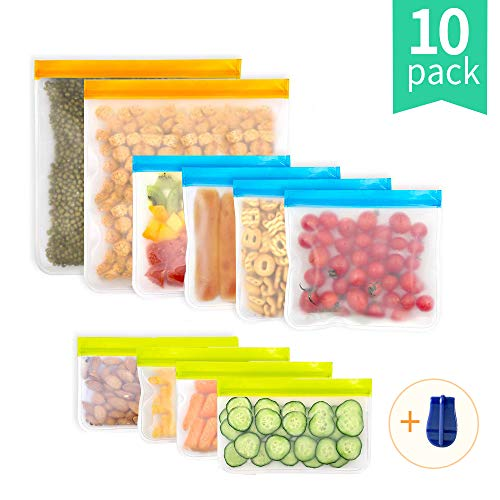 Reusable Storage Bags 10 Pack Reusable Food Storage Bags Freezer Bags (2 Reusable Gallon Bags + 4 Reusable Sandwich Bags + 4 Reusable Snack Bags) Leakproof Ziplock Lunch Bag for Food Meat (10-Pack)