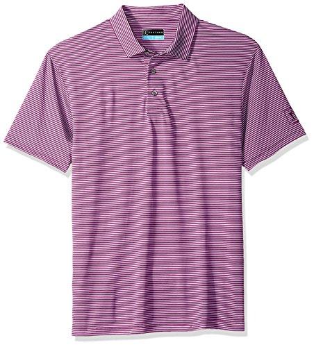 PGA TOUR Men's Short Sleeve Feeder Striped Polo, Dahlia, XL ()