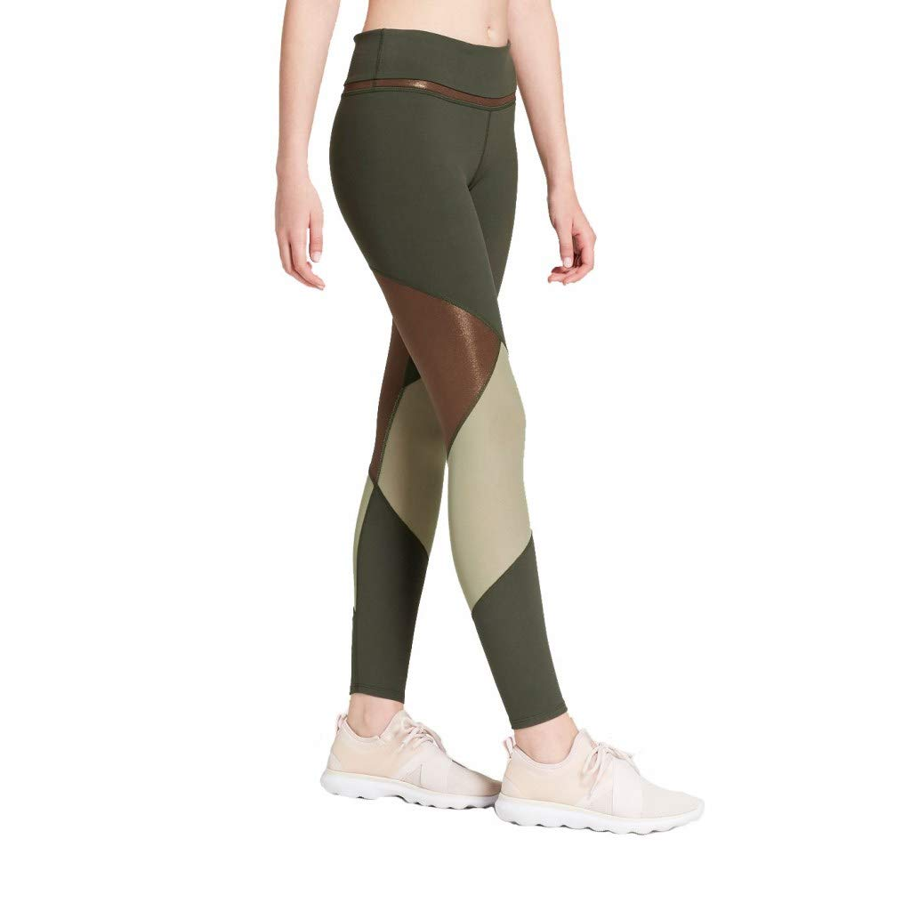 800cfb972 JoyLab Women s Premium 7 8 Shine and Mesh Pieced High-Waisted Leggings  (Deep Olive Green) at Amazon Women s Clothing store