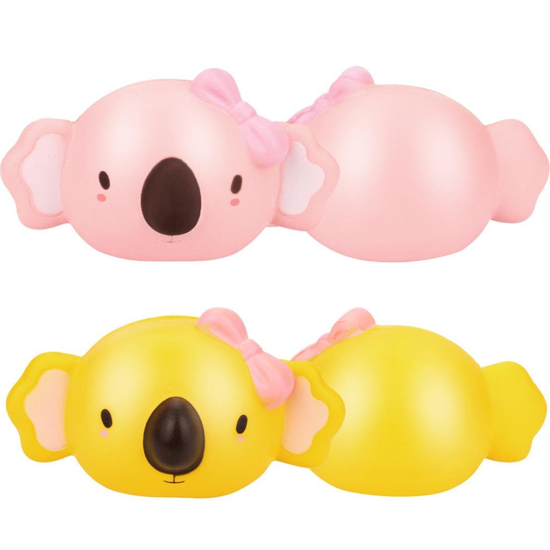 Stress Relief SquishyコアラおもちゃソフトSlow Rising香りつきSqueeze anti-anxiety Finger Toy for Kids学生大人 B0793GCQ8F  ピンク