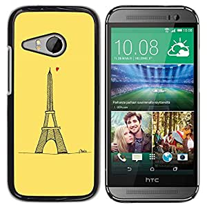 TopCaseStore / la caja del caucho duro de la cubierta de protección de la piel - Tour D' Heart Tower Yellow Paris - HTC ONE MINI 2 / M8 MINI
