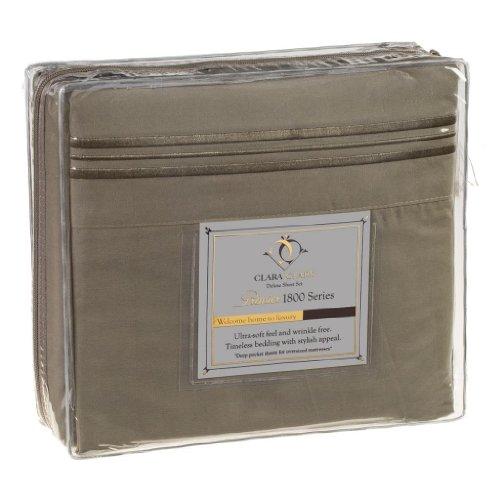 Clara Clark® Premier 1800 Collection 4pc Bed Sheet Set, RV Short Queen Size, Sage Olive Green (Clara Clark Silk Sheets)