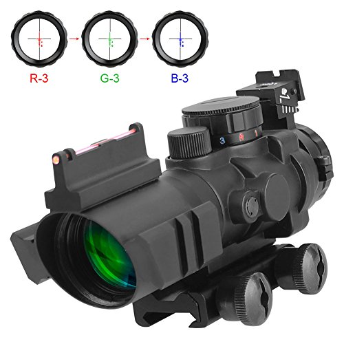 Aomekie AO5007 Optics 4x32 Red/Green/Blue Triple Illuminated Rapid Range Reticle Scope With Top Fiber Optic Sight c