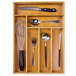Kitchen Kitchen Wood Utensil Tray Drawer Organizer, Bamboo Silverware Tray for Drawer 12X17 Cutlery Organizer in Drawer… silverware organizers