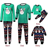 GzxtLTX Christmas Family Matching Pajama Set Daddy Mommy and Me Cartoon Christmas Snowman Printed Nightwear Sleepwear (80, Black-Baby)