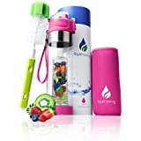 Liquid Savvy 24oz Water Infuser – Fruit Infused Water Bottle with Leak Proof Flip Top Lid, Tritan Plastic with Bottom Infusing Design with Neoprene Insulated Sleeve, Strainer & Bottle Brush (Pink)
