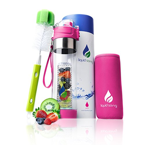 Liquid Savvy 24oz Water Infuser - Fruit Infused Water Bottle with Leak Proof Flip Top Lid, Tritan Plastic with Bottom Infusing Design with Neoprene Insulated Sleeve, Strainer & Bottle Brush (Pink)