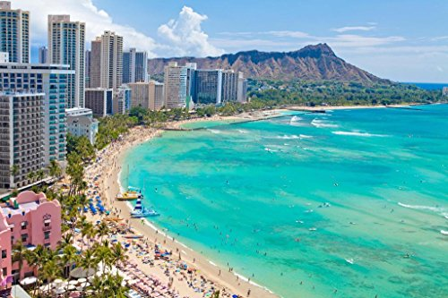 Waikiki Beach Honolulu Hawaii Photo Art Print Mural Giant Poster 36x54 inch