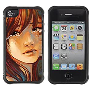 Fuerte Suave TPU GEL Caso Carcasa de Protección Funda para Apple Iphone 4 / 4S / Business Style Sad Girl